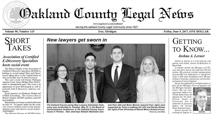 Oakland County Legal News - Getting to Know: Joshua A. Lerner